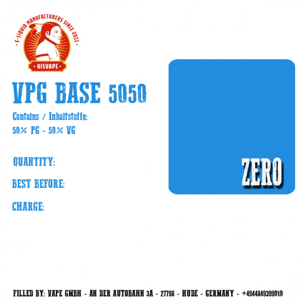 1000ml VPG 50/50 Basis Zero