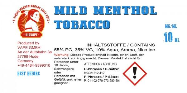 Mild Tobacco Menthol Smooth